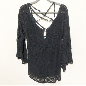 Jens Pirate Booty Lace Blouse Black 3/4 Sleeve